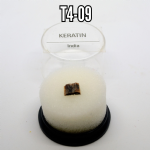 Keratin natural mineral/gemstone specimens in display case